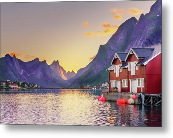 White Night In Reine Metal Print