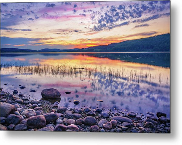 White Night Sunset On A Swedish Lake Metal Print
