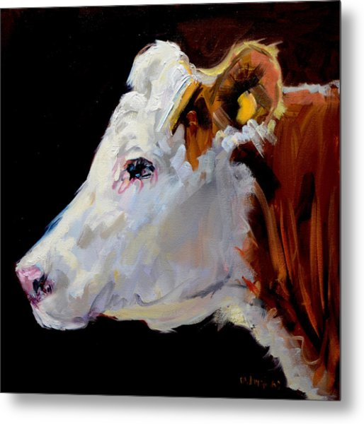 White On Brown Cow Metal Print