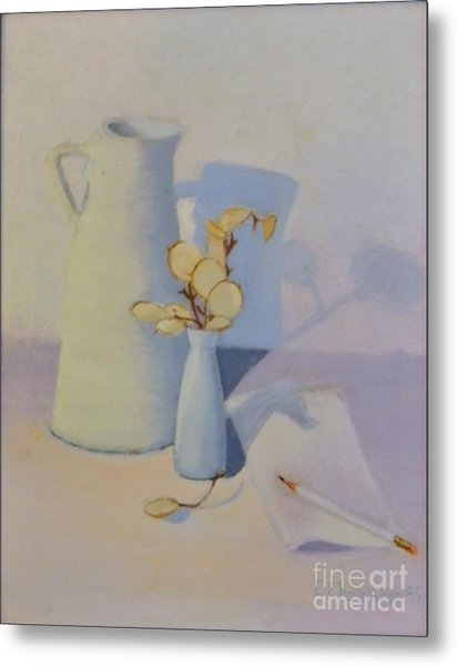 White On White Still Life Metal Print by Emily Michaud