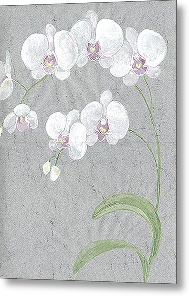 White Orchids On Sprigs  Metal Print by Marja Koskinen-Talavera