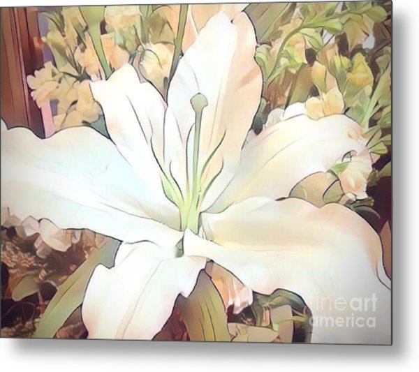 White Painted Lily Metal Print