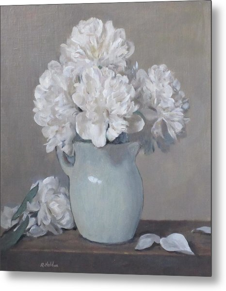 Gray Day For White Peonies Metal Print