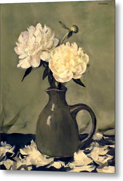 White Peonies In Small Green Pitcher Metal Print