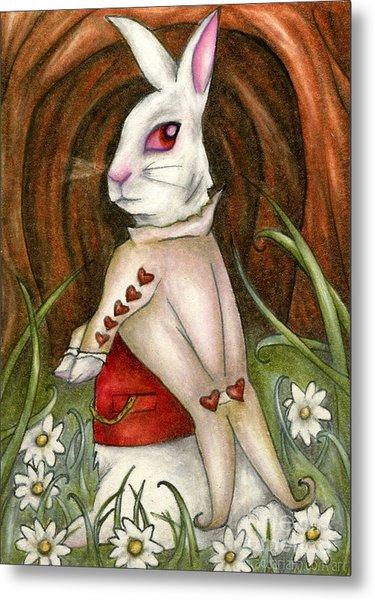 White Rabbit On Way To Wonderland Metal Print