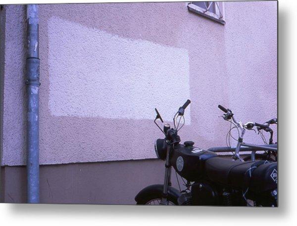 White Rectangle And Vintage Bikes Metal Print