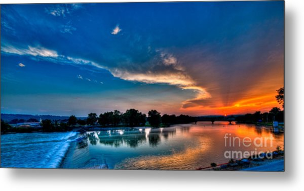 White River Sunset Metal Print by Clayton Cavaness