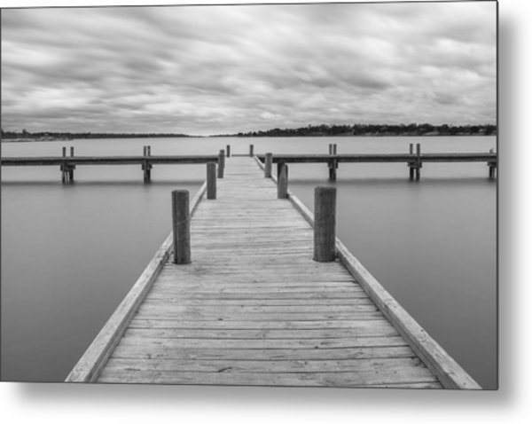 White Rock Lake Pier Black And White Metal Print
