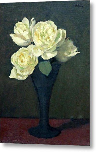 Four White Roses In Trumpet Vase Metal Print