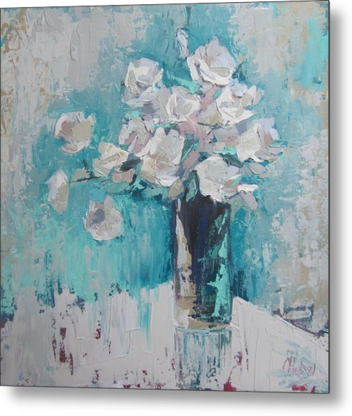 White Roses Palette Knife Acrylic Painting Metal Print