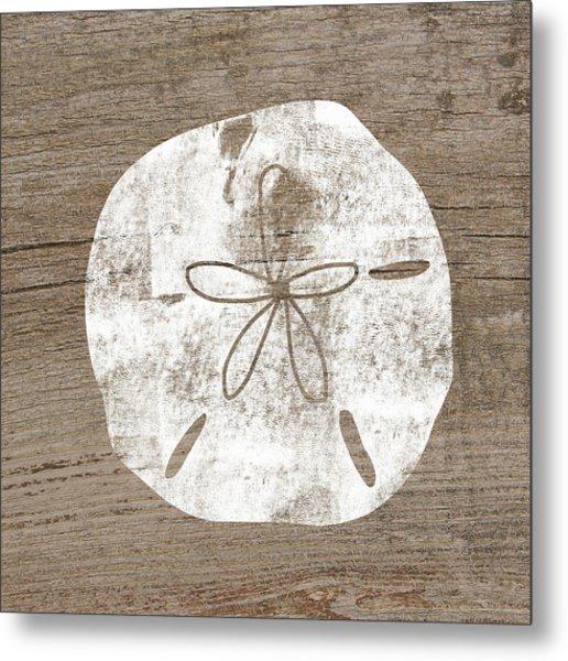 White Sand Dollar- Art By Linda Woods Metal Print