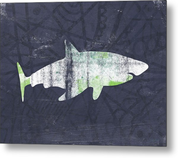 White Shark- Art By Linda Woods Metal Print