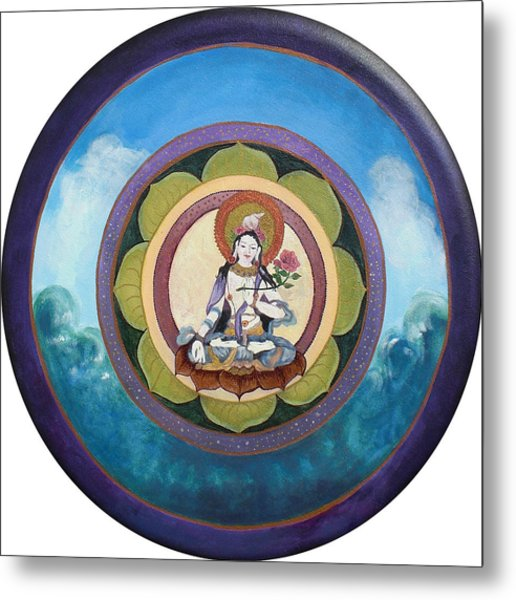 White Tara Mandala Metal Print by Jo Thompson