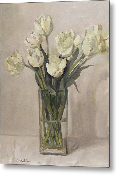 White Tulips In Rectangular Glass Vase Metal Print