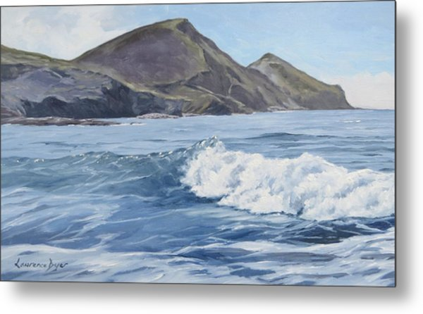White Wave At Crackington  Metal Print