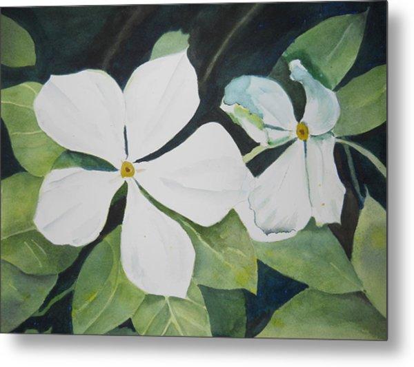 White Wildflowers Metal Print