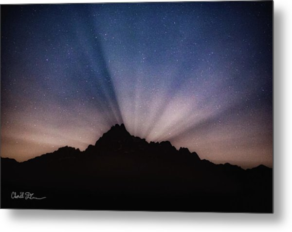 Whitehorse Mountain Moon Rays Metal Print