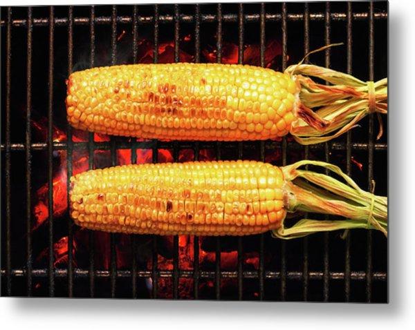 Whole Corn On Grill Metal Print
