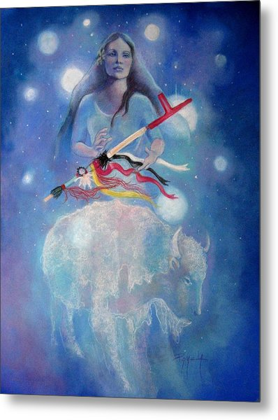 Whtie Buffalo Woman From The Pleiades Metal Print