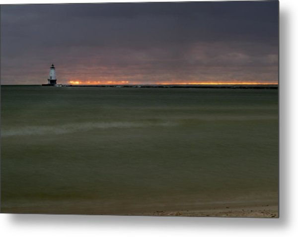 Wide View Of Lighthouse And Sunset Metal Print