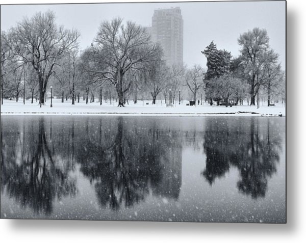 Metal Print featuring the photograph Snowy Reflections Of Trees In Lake At City Park, Denver Co  by Philip Rodgers