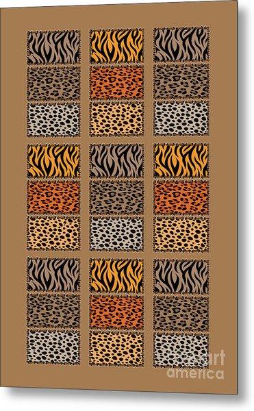 Wild Cats Patchwork Metal Print