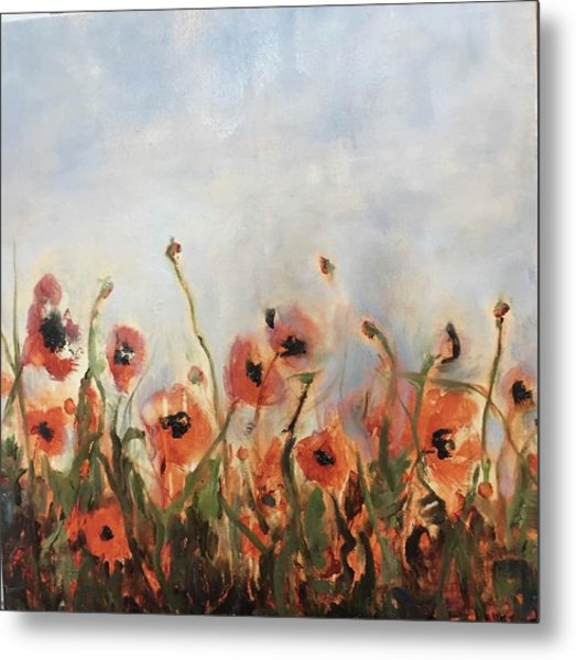 Wild Corn Poppies Underpainting Metal Print