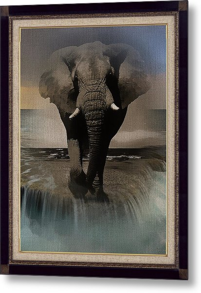 Wild Elephant Montage Metal Print