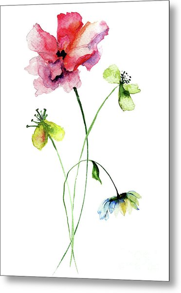Wild Flowers Watercolor Illustration Metal Print