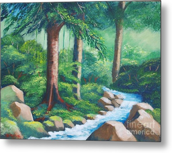 Wild Forest River Metal Print