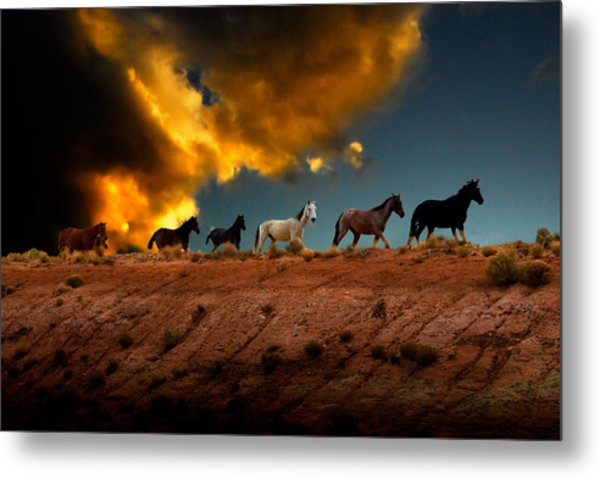 Wild Horses At Sunset Metal Print