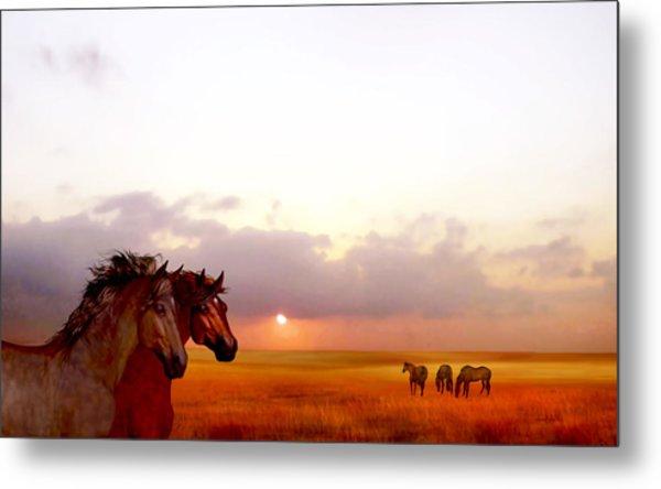 Metal Print featuring the painting Wild Moorland Ponies by Valerie Anne Kelly
