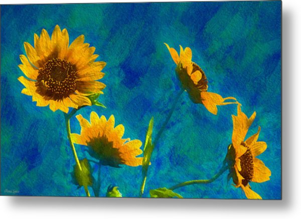 Wild Sunflowers Singing Metal Print