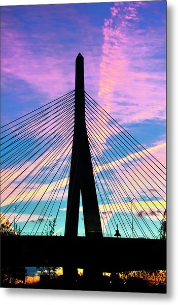 Wild Sunset Over The Zakim Bridge - Boston Metal Print