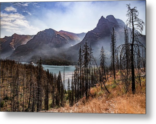 Metal Print featuring the photograph Wildfire Remnants Overlooking St. Mary's Lake, Glacier National Park by Lon Dittrick