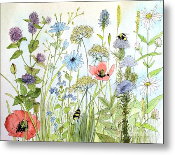 Wildflower And Bees Metal Print