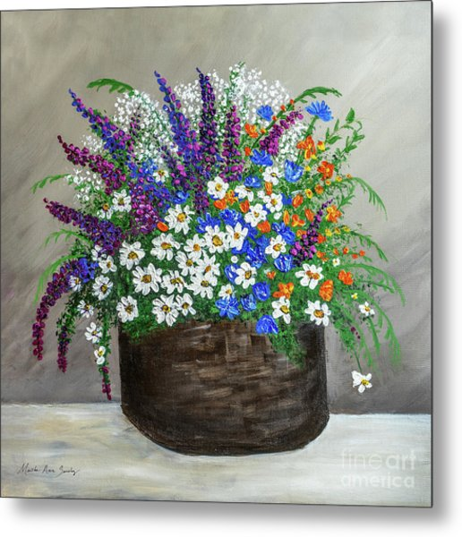 Metal Print featuring the painting  Wildflower Basket Acrylic Painting A61318 by Mas Art Studio