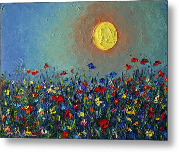 Wildflowers Meadow Sunrise Modern Floral Original Palette Knife Oil Painting By Ana Maria Edulescu Metal Print
