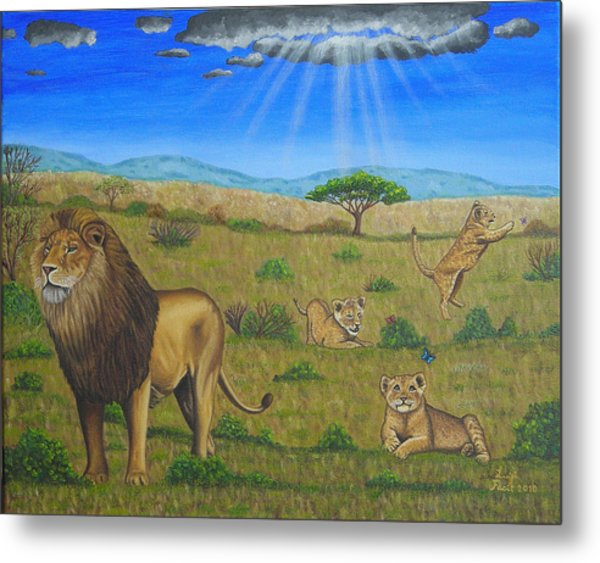 Wildlife Paintings A Lion With Three Cubs In The Savannah  Metal Print
