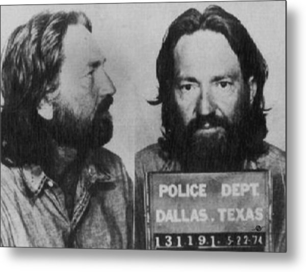 Willie Nelson Mug Shot Horizontal Black And White Metal Print