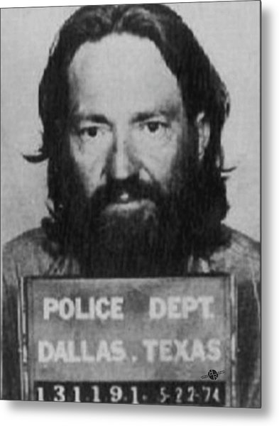 Willie Nelson Mug Shot Vertical Black And White Metal Print