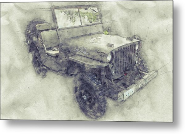 Willys Mb 1 - Ford Gpw - Jeep - Automotive Art - Car Posters Metal Print