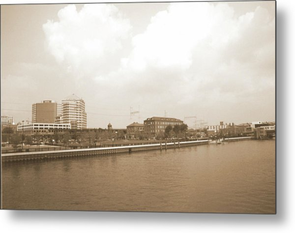 Wilmington Riverfront Retro Metal Print