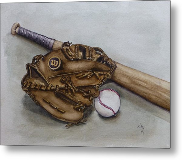 Wilson Baseball Glove And Bat Metal Print