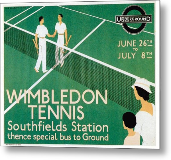 Wimbledon Tennis Southfield Station - London Underground - Retro Travel Poster - Vintage Poster Metal Print