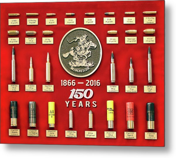 Winchester 150th Anniversary Commemorative Cartridge Board Metal Print