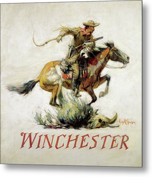 Winchester Horse And Rider Metal Print