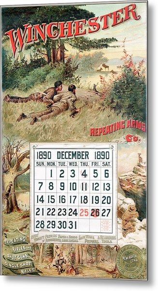 1890 Winchester Repeating Arms And Ammunition Calendar Metal Print