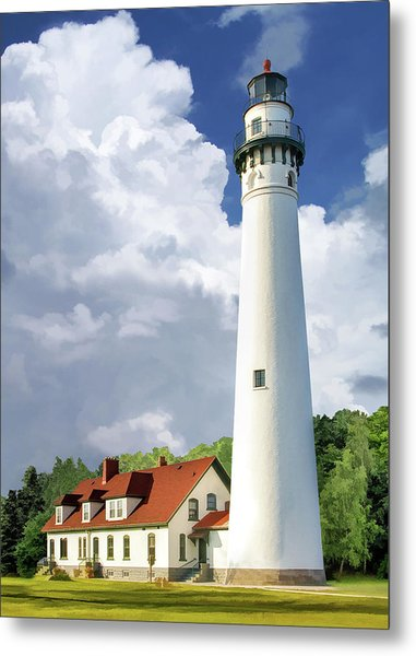 Metal Print featuring the painting Wind Point Lighthouse by Christopher Arndt