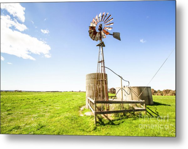 Wind Powered Farming Station Metal Print